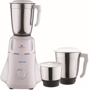 Bajaj Easy 500 W Juicer Mixer Grinder White, 3 Jars