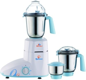 Bajaj Typhoon 750 W Juicer Mixer Grinder White,Blue, 3 Jars