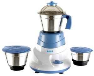 Boss All Time 500 W Mixer Grinder White and Blue, 3 Jars
