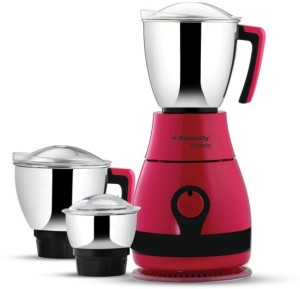Butterfly Pebble 3 Jar 600W 600 W Mixer Grinder Candy Pink, 3 Jars