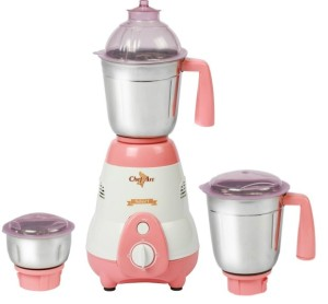 Chef Art CMG625 550 W Mixer Grinder White, Peach, 3 Jars