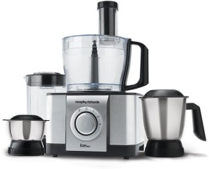Morphy Richards Icon DLX Food Processor 1000 W Juicer Mixer Grinder Steel Black, 4 Jars