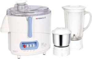 Pringle Brio 500 W Juicer Mixer Grinder White, 2 Jars
