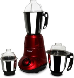 Unimix Economical Model 3 230 W Mixer Grinder Red, 3 Jars