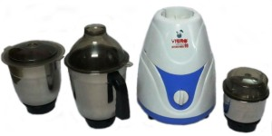 Vibro Kitchen Mate-99 550 W Mixer Grinder White and Blue, 3 Jars