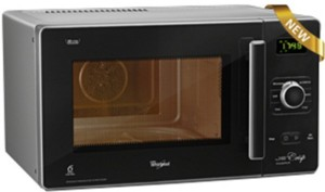 Whirlpool 25L Jet Crisp Steam 25 L Convection Microwave Oven Black Facia and Silver Body